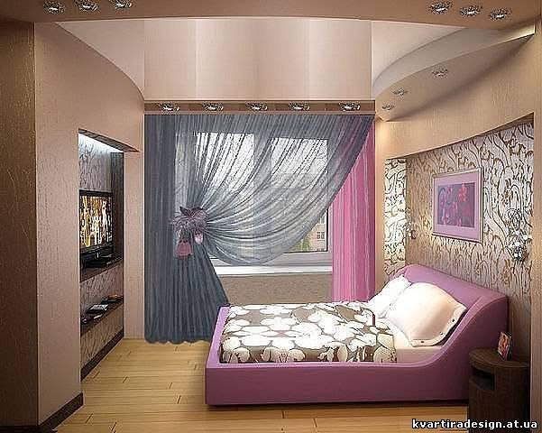 Дизайн узкой длинной спальни фото